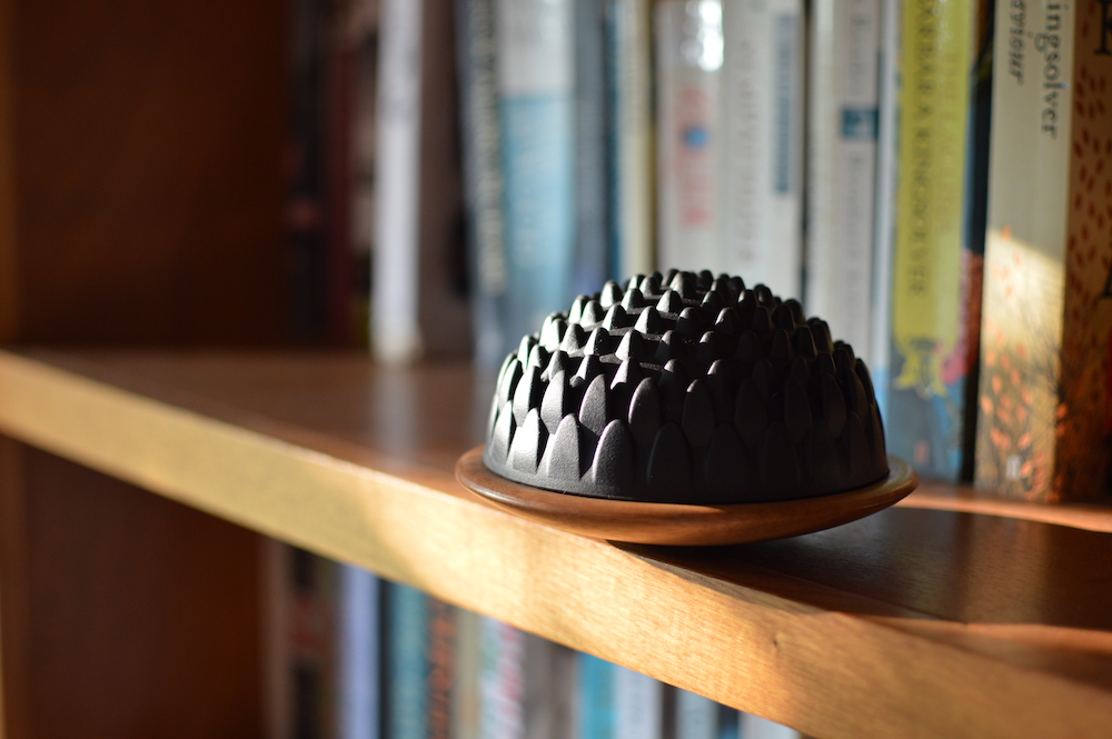 Makarlu Lotus Pilates product on a wooden bookshelf